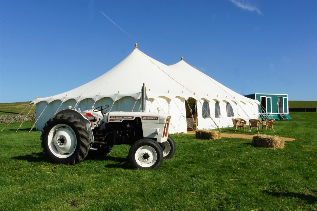 Posh Frocks and Wellies Marquee & David Brown Tractor